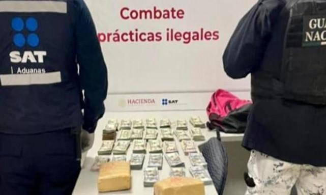 Aduanas Ejercito Mexicano y Guardia Nacional decomisan divisas por mas de 3.9 millones de pesos en la Aduana de Tijuana provenientes de EU