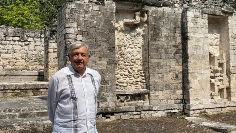 Supervisa Lopez Obrador construccion del Tren Maya en Campeche