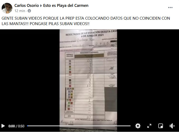 Alerta de Fraude Electoraal en Solidaridad Quintana Roo Conteo del Prep no  cuadra con sabana elctoral - Cdmx Press Noticias